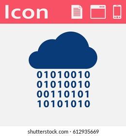 Digital cloud flat icon. Big data computing vector illustration.