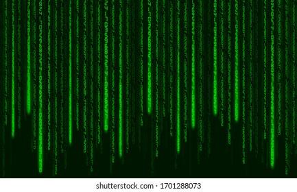 Digital code background. Matrix style program. Random falling numbers.