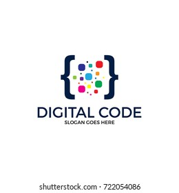 digital code logo illustration. colorfull logo. coding. programmer logo icon vetor. media logo.