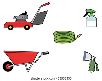 Digital Collage Of A Lawn Mower, Wheel Barrow, Hose, Spray Bottle And Nozzle