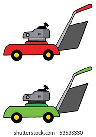 Digital Collage Of Red And Green Lawn Mowers