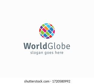 Digital Color World Logo Design Template