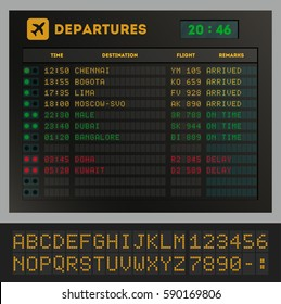 Digital colorful airport board template vector illustration. Set of letters, numbers and time display board for airport schedule or train destination timetable. Realistic flip scoreboard, digital font