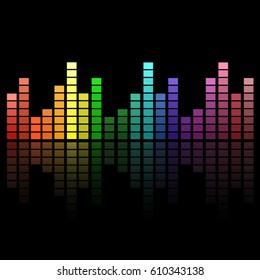 Digital colorful equalizer sound waves. abstract vector illustration
