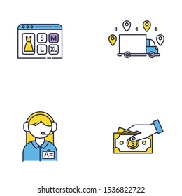 Digital commerce color icons set. Online shopping. Choose clothes size. Ordering delivery and payment by cash. Customer service assistance. Online store application. Isolated vector illustrations