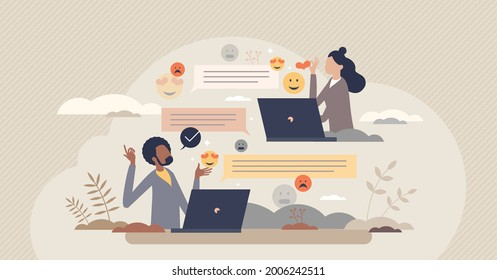 Digital communication etiquette and proper writing style tiny person concept. Social standard for reactions and emotions in computer or phone messages vector illustration. Symbolic feeling expression.
