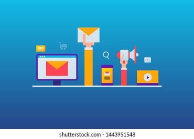 Digital concept of email marketing, hand holding email envelope, Email advertising, delivering message to customer - vector illustration