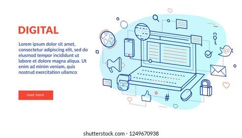 Digital Concept for web page, banner, presentation. Vector illustration