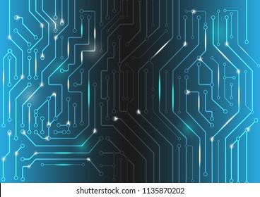 Digital conceptual image circuit microchip on dark blue background. Graphic design,wallpaper, data virsual concept.