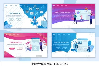 Digital content landing page bundle. Content marketing website banners. Mobile app development digital technologies, Social media business poster concept elements template. Web symbols set people flat