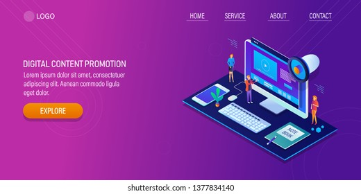 Digital content promotion, Advertising content, Content marketing strategy, 3D, isometric vector banner with icons