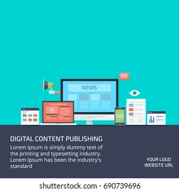 Digital content publishing, content marketing, and syndication, guest blogging flat vector banner illustration with icons