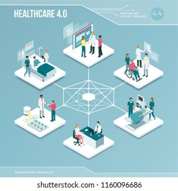 Digital core: online healthcare and medical services isometric infographic with people