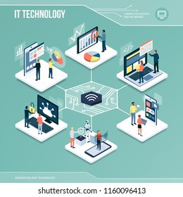 Digital core: IT technology, marketing and networks isometric infographic with people
