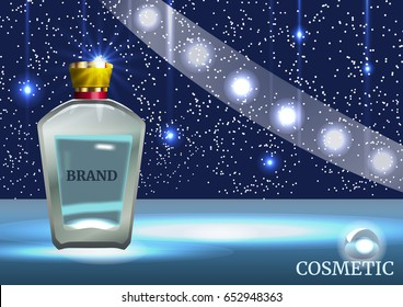 Digital cosmetic ads template, blank mockup with sparkling bokeh blue background and dazzling effect, spray bottle. 3D realistic illustration.