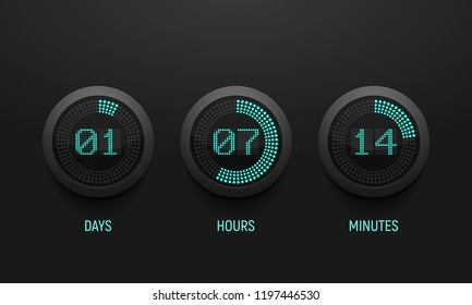 Digital countdown timer. Clock counter. Vector template for your design.