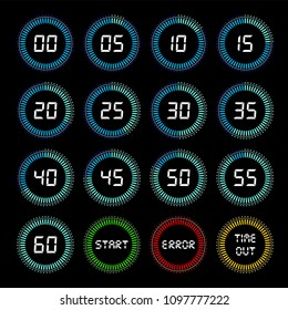 Digital countdown timer. Electronic alarm displays, automatic mechanism to count up time in seconds, minutes, hours. Vector flat style cartoon timer illustration on black background