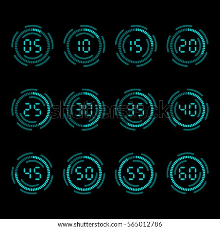 digital countdown timer five minutes interval stock vector royalty
