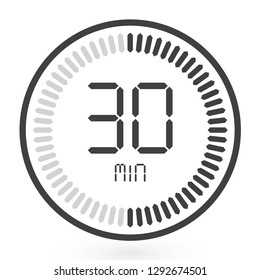 Digital Countdown Timer Vector Icon. Modern Stopwatch Analog or Digital Timer Illustration.