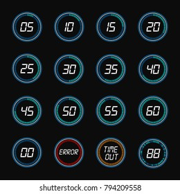 Digital countdown. Vector round countdown numbers, timer clock design icons