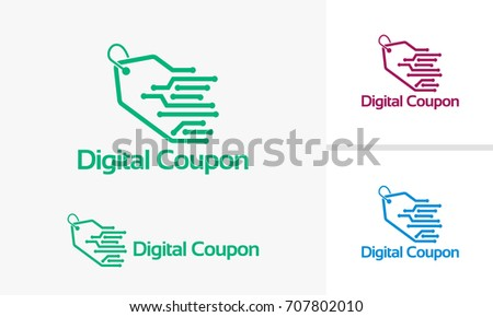 Digital Coupon Logo Template Online Selling Stock Vector Royalty