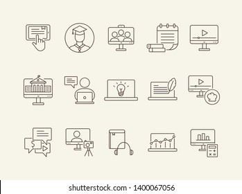 Digital course line icon set. Student, computer, lection. E-learning concept. Can be used for topics like training, online lesson, webinar