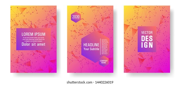 Digital cover layout design. Global network connection of points and lines. Interlinked nodes, molecular or social media, web structure concept. Information technology concept cover.