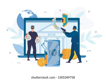 Digital Crimes. Cyber Hacking. E-Bank Account Attack. Cartoon Men Thieves in Mask Characters Forced Open Electronic Wallet Password Security System and Stealing Money. Vector Flat Illustration