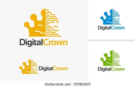 Digital Crown logo template, King of digital logo deigns vector