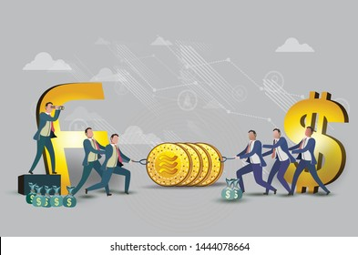 Digital currency created by Facebook In the form of Libra 3D isometric  coin Illustration and vector eps 10