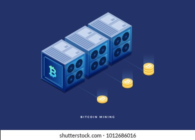 Digital currency or cryptocurrency mining farm. Creation of bitcoins. 3d isometric flat design. Vector illustration.
