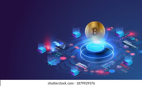 Digital currency or cryptocurrency mining farm. Creation of bitcoins. Crypto mining, blockchain concept. Crypto currency market landing page. Hologram of a Bitcoin coin on a blue futuristic background