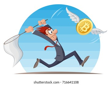 Digital currency. Funny man trying to catch bitcoin with a butterfly net. Cartoon styled vector illustration. Elements is grouped and divided into layers. No transparent objects.