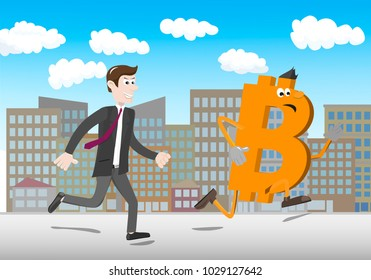Digital currency - Furious businessman chasing a Bitcoin. Elements is grouped and divided into layers.