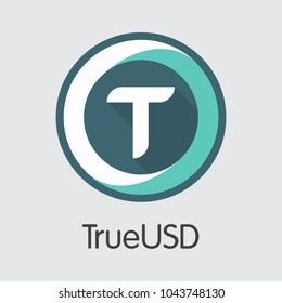 Digital Currency Trueusd. Net Banking and TUSD Mining Vector Concept. Virtual Currency Mining Finance Icon.