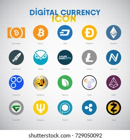 Digital Currency Vector Icon Set