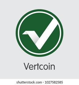 Digital Currency Vertcoin. Net Banking and VTC Mining Vector Concept. Virtual Currency Mining Finance Illustration.