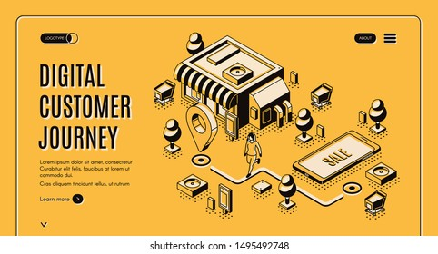 Digital customer journey map isometric landing page. Process of purchasing decision, buyer make purchase moving by specified route, promotion, search. 3d vector illustration, line art, web banner