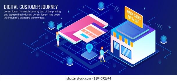 Digital customer journey, customer shopping online, shopping store app flat design 3D isometric vector banner