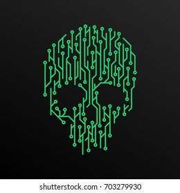 Digital cyber skull simple vector graphic