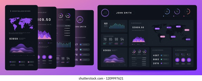 Digital dashboards. Mobile business bar graph and histogram, economic diagram and pie charts. Marketing infographics vector elements