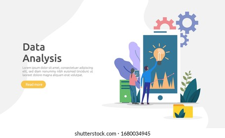 digital data analysis concept for market research and digital marketing strategy. website analytics or data science with people character. template for web landing page, banner, presentation