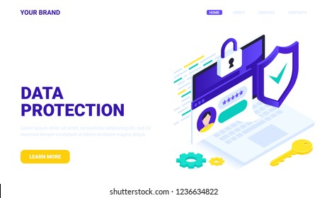 Digital data protection and personal information security concept. Flat vector isometric illustration. Laptop locked with user password. Personal information security: website template, banner, header