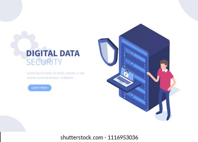 Digital data security  concept. Can use for web banner, infographics, hero images. Flat isometric vector illustration isolated on white background.