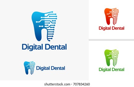 Digital Dental Technology logo designs vector, Dental Repair logo template, Dental Braces logo designs vector