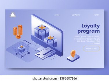 Digital design isometric concept scene of 3d icons for loyalty program.Isometric business finance symbols-credit card,gift boxes,coins,shopping cart,geo tag on landing page banner web online concept