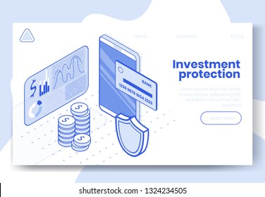 Digital design isometric concept set of 3d icons for investment protection.Isometric business finance symbols-credit card,diagram,dollar coins,security shield on landing page banner web online concept
