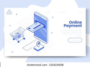 Digital design isometric concept set of 3d icons for online payment app.Isometric business finance symbols-mobile phone,credit card,shopping cart,gift box on landing page banner web online concept