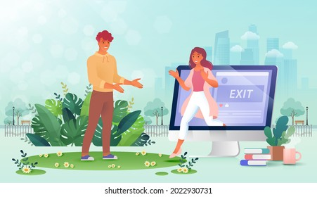 Digital detox concept, woman retreat from social media and walk out from computer screen to go out with friend in person against city park background. Vector illustration.