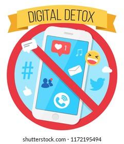 Digital Detox Flat Design Icon
